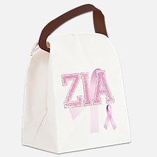 ZIA initials, Pink Ribbon, Canvas Lunch Bag