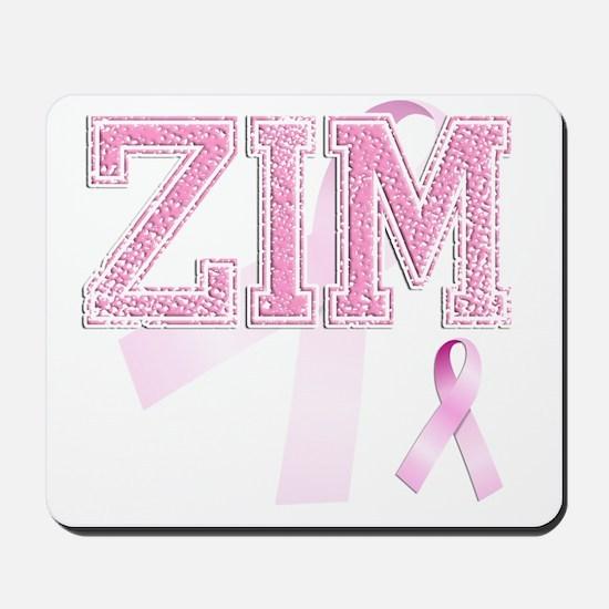 ZIM initials, Pink Ribbon, Mousepad