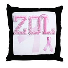 ZOL initials, Pink Ribbon, Throw Pillow