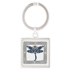 Dragonfly Shower Curtain Square Keychain