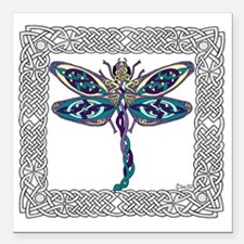 "Dragonfly Shower Curtain Square Car Magnet 3"" x 3"""