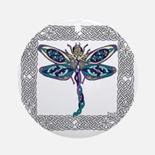 Dragonfly Shower Curtain Round Ornament