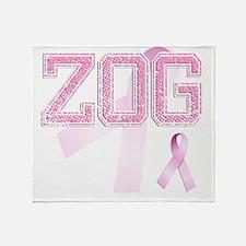 ZOG initials, Pink Ribbon, Throw Blanket