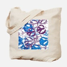 twin duvet cool tone peace sign montage Tote Bag