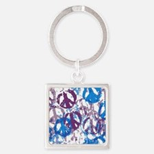 plate holder cool tone peace sign  Square Keychain