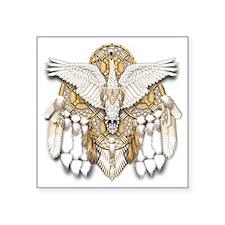 "Native American Swan Mandal Square Sticker 3"" x 3"""