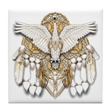 Native American Swan Mandala Tile Coaster