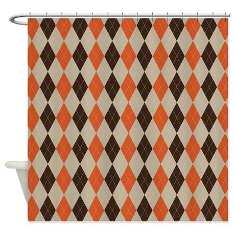 Orange Brown And Beige Argyle Shower Curtain By ADMIN CP66010599