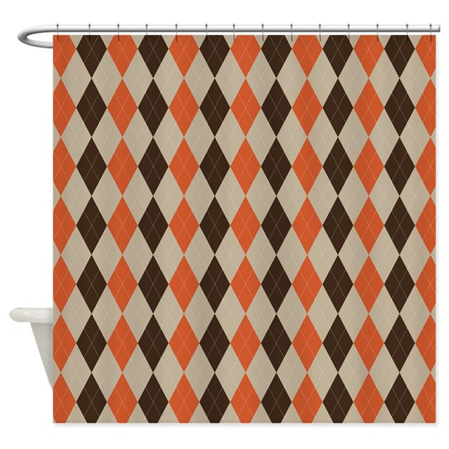 Orange brown and beige argyle shower curtain by admin - Orange and brown curtains ...