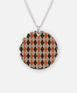 Orange Brown and Beige Argyl Necklace