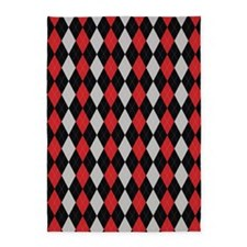 Black Red and Grey Argyle 5'x7'Area Rug