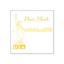 "NY_10x10_Skyline_Statue_Yel Square Sticker 3"" x 3"""