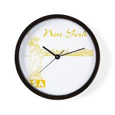NY_10x10_Skyline_Statue_Yellow Wall Clock