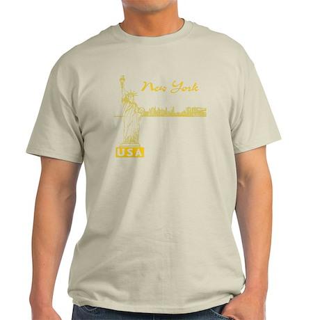 NY_10x10_Skyline_Statue_Yellow Light T-Shirt
