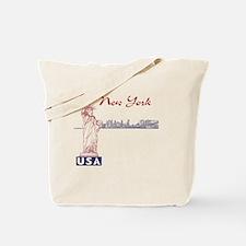 NY_10x10_Border_SkylineStatue_BlueRed Tote Bag