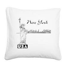 NY_12x12_Skyline_Statue_Black Square Canvas Pillow