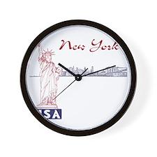 NY_10x10_Skyline_Statue_BlueRed Wall Clock
