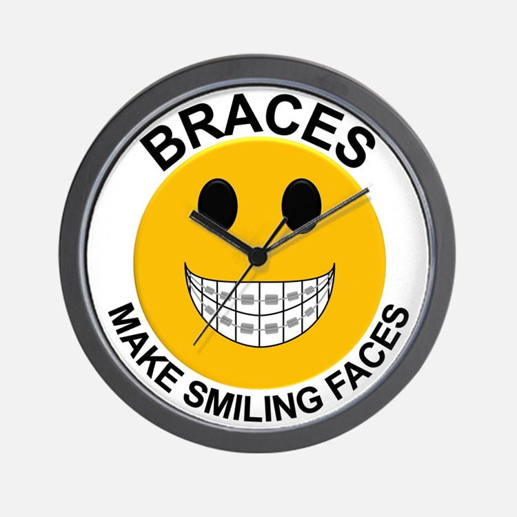 Braces Make Smiling Faces Wall Clock