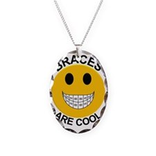 Braces Are Cool Necklace Oval Charm