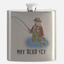 NOT DEAD YET fly fishing Flask