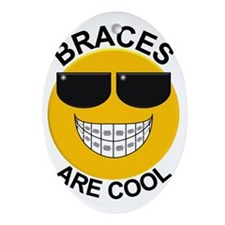 Braces Are Cool with Sunglasses Oval Ornament