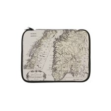 """Antique map of Norway 13"""" Laptop Sleeve"""