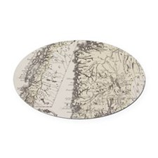 Antique map of Norway Oval Car Magnet