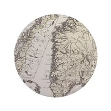 """Antique map of Norway 3.5"""" Button"""