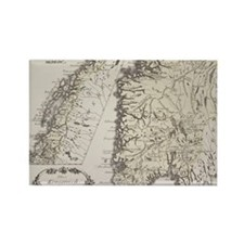 Antique map of Norway Rectangle Magnet