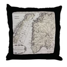 Antique map of Norway Throw Pillow
