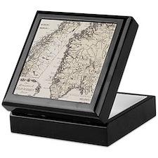 Antique map of Norway Keepsake Box
