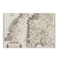 Antique map of Norway Postcards (Package of 8)