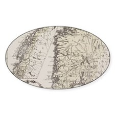 Antique map of Norway Decal