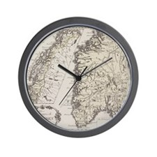 Antique map of Norway Wall Clock