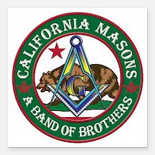 "California Freemasons Square Car Magnet 3"" x 3"""