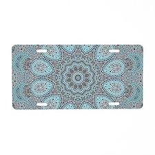 blue Paisley mosaic Mandala Aluminum License Plate