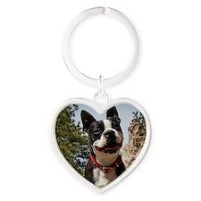 Boston Terrier Circle Heart Keychain