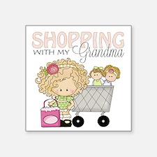 "Shopping with Grandma Square Sticker 3"" x 3"""