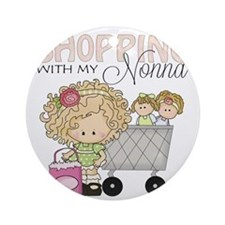 Shopping with Nonna Round Ornament