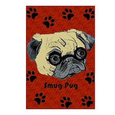 Cute Smug Pug Postcards (Package of 8)