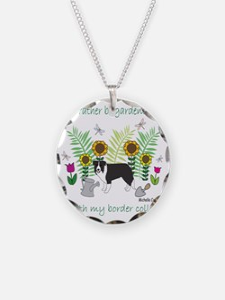 border collie Necklace Circle Charm