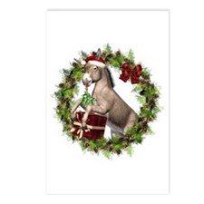 Donkey Santa Hat Inside Wreath Postcards 8 PK