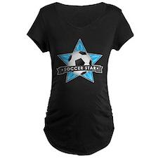 Blue Soccer Star Stitched T-Shirt