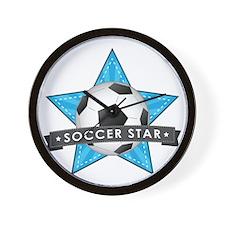 Blue Soccer Star Stitched Wall Clock