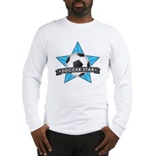 Blue Soccer Star Stitched Long Sleeve T-Shirt