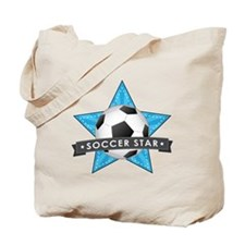 Blue Soccer Star Stitched Tote Bag