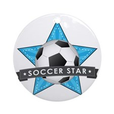 Blue Soccer Star Stitched Round Ornament