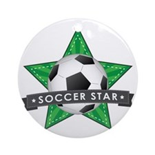 Green Soccer Star Stitched Round Ornament
