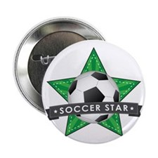 "Green Soccer Star Stitched 2.25"" Button"