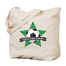 Green Soccer Star Stitched Tote Bag